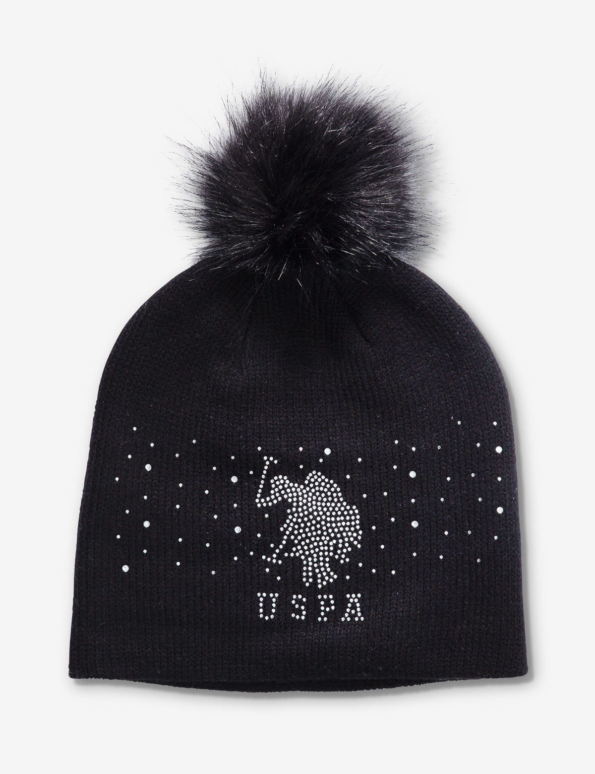 RHINESTONE BEANIE WITH POM POM ON TOP