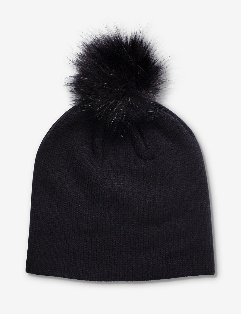 RINESTONE BEANIE WITH POM POM ON TOP