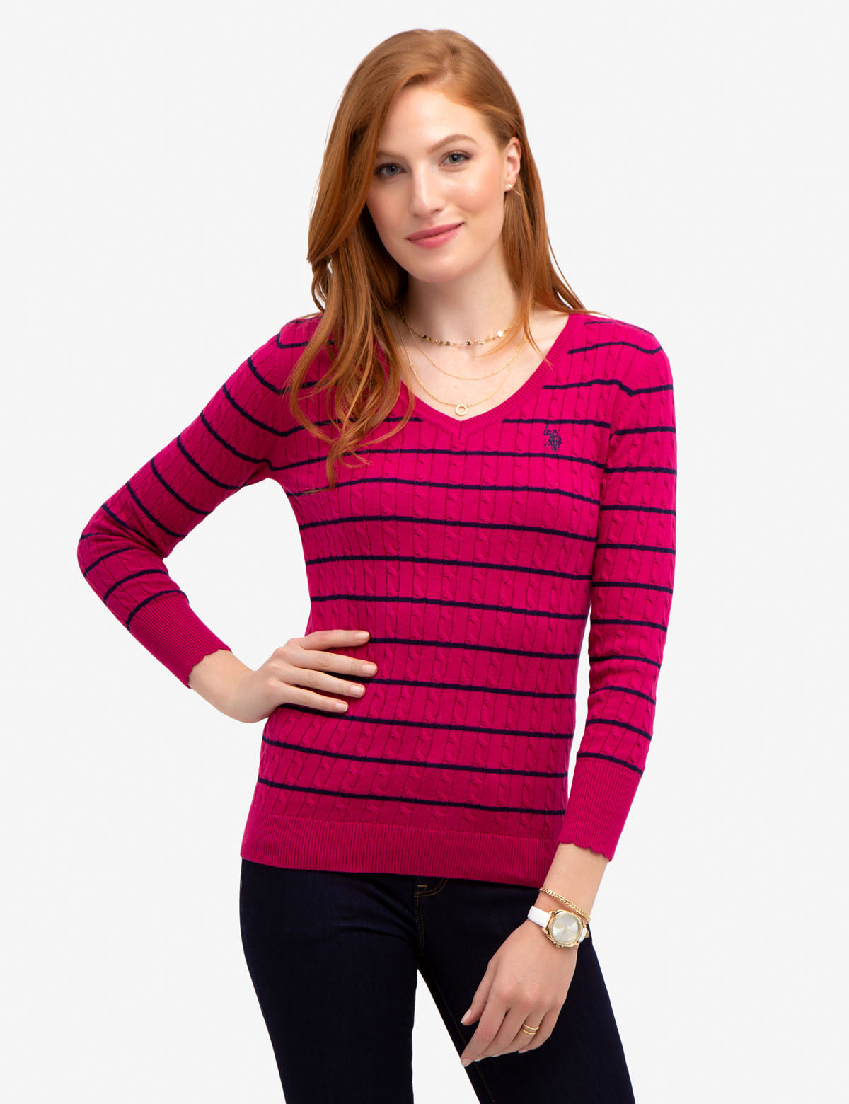 STRIPED CABLE KNIT V-NECK SWEATER