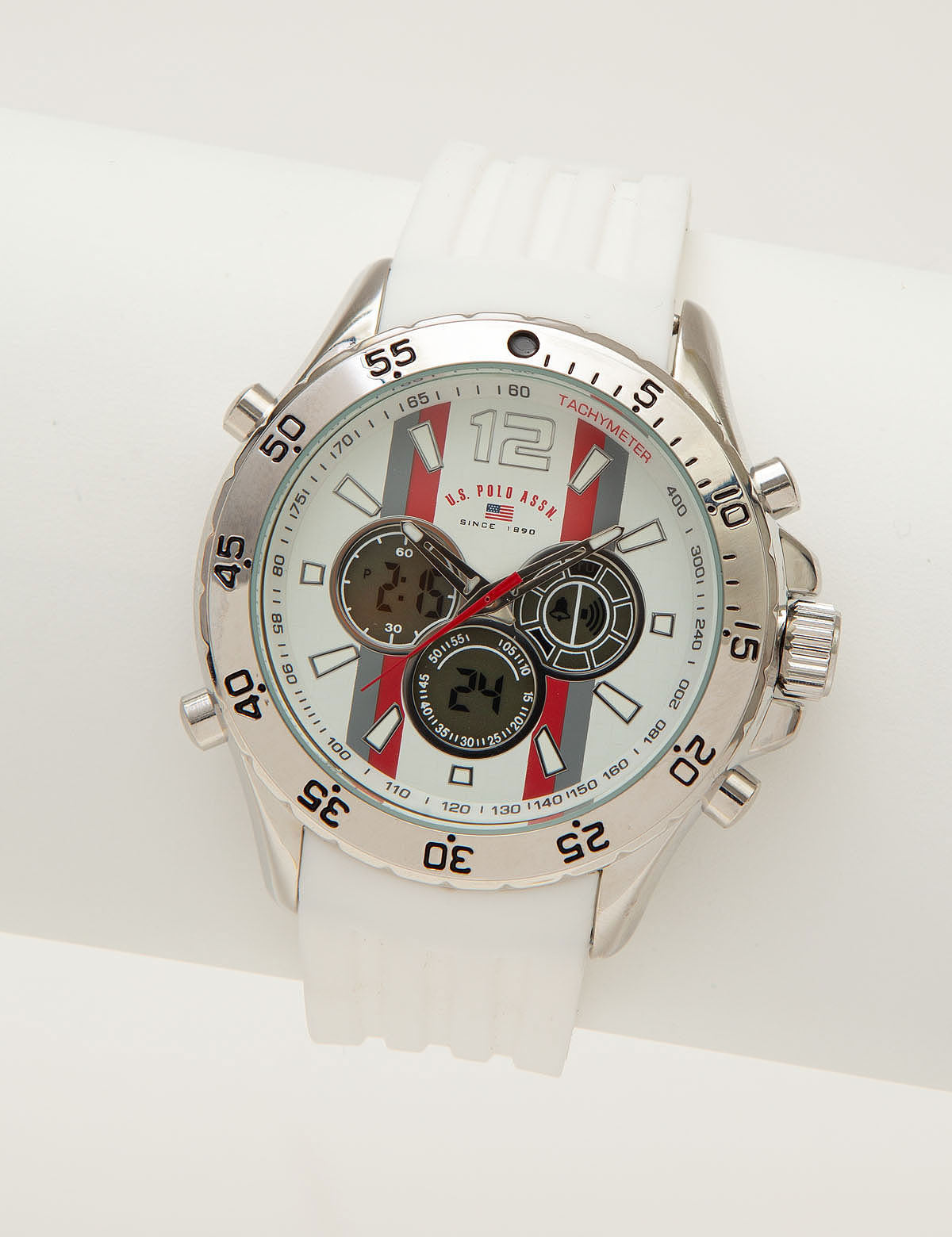 MEN'S WHITE ANA DIGI SPORT WATCH - U.S. Polo Assn.