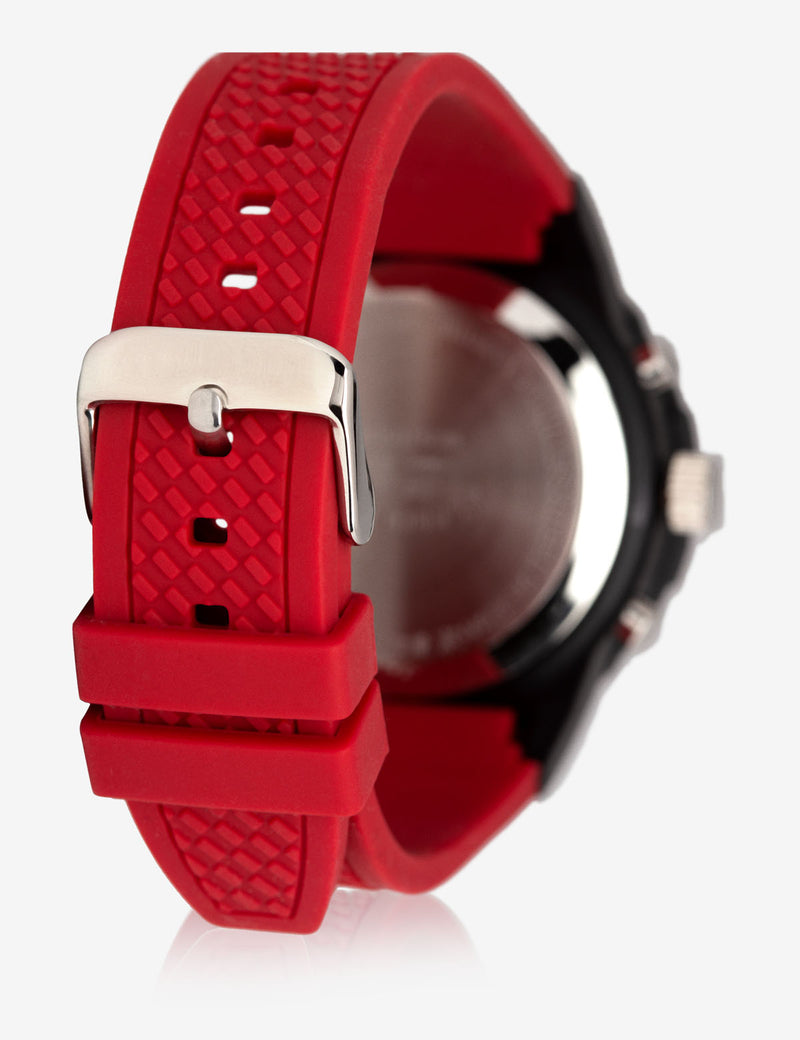 MEN'S SPORT ANALOG-DIGITAL WATCH WITH RED STRAP