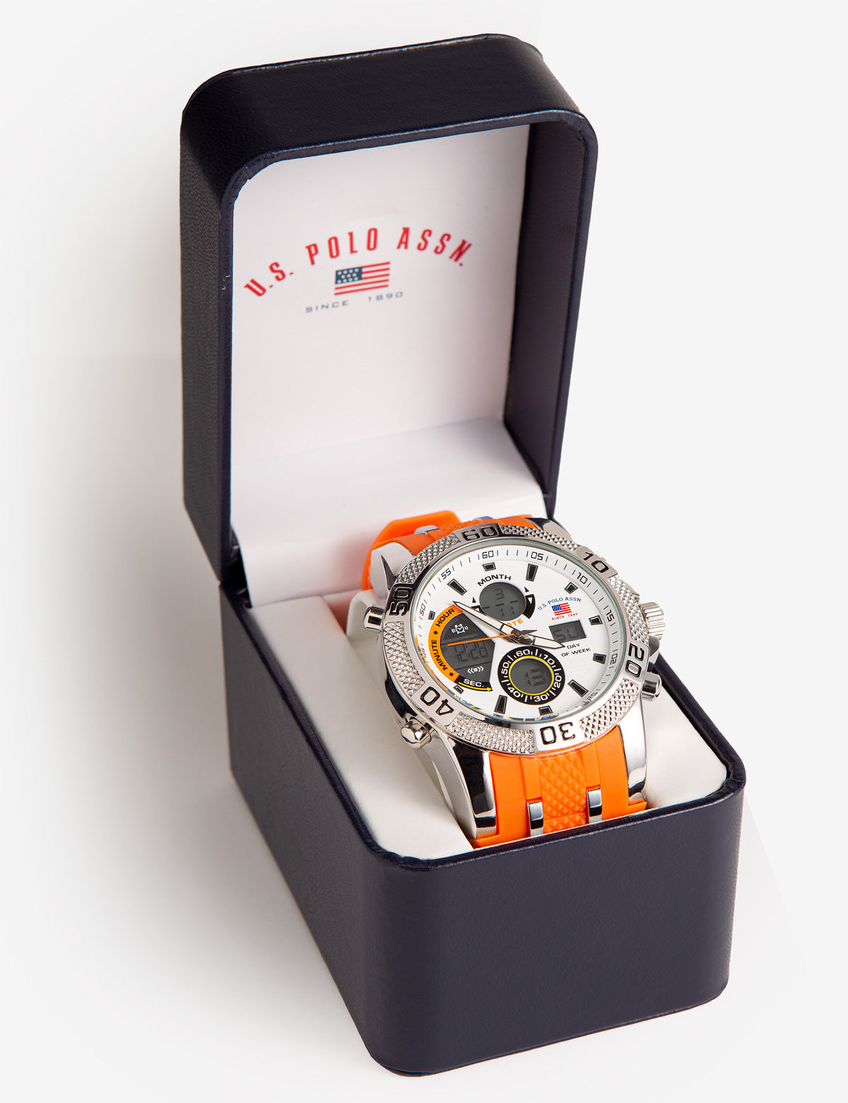 Orange Resin and Silver Link Ana-Digi Watch - U.S. Polo Assn.