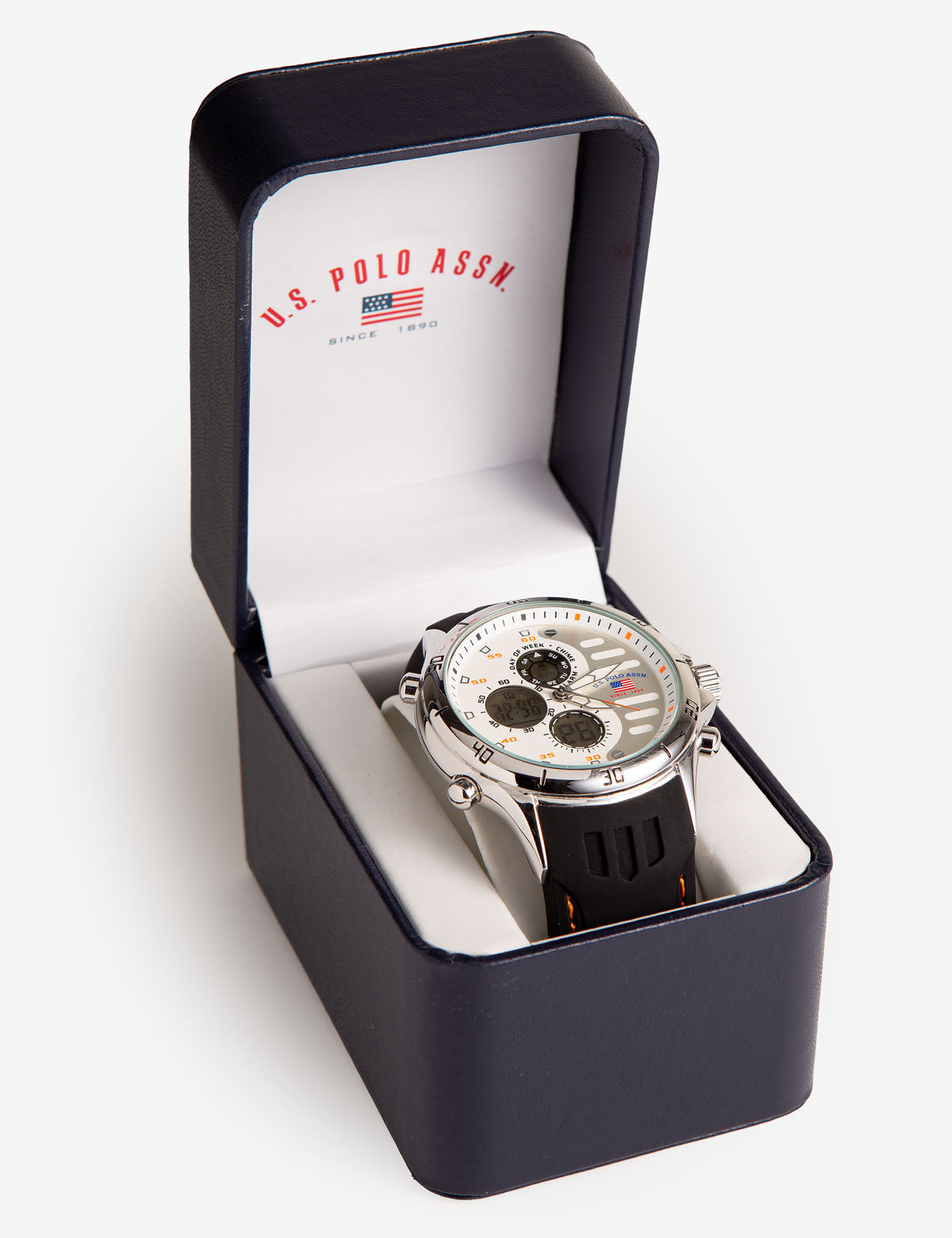White Ana-Digi Dial Watch with Black Strap - U.S. Polo Assn.