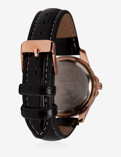 HIS & HERS ROSE GOLD FAUX CROC STRAP WATCH SET - U.S. Polo Assn.