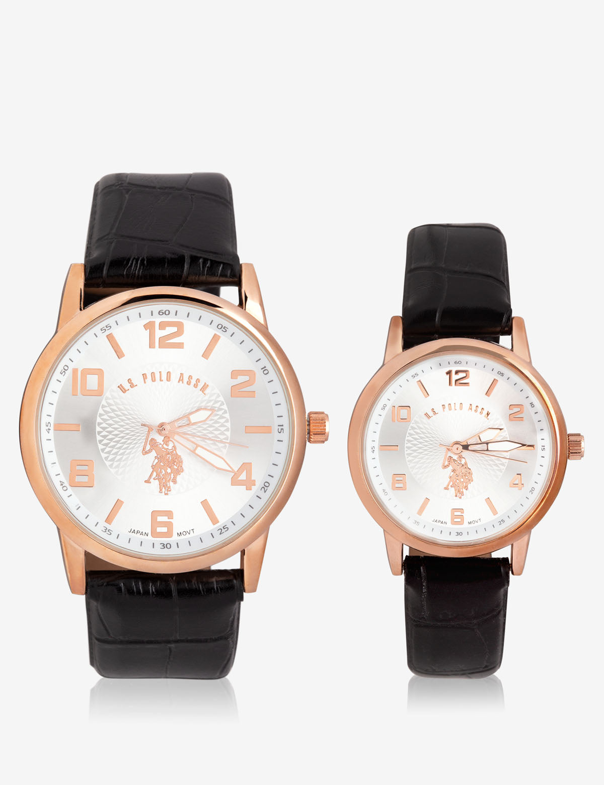 HIS & HERS ROSE GOLD FAUX CROC STRAP WATCH SET