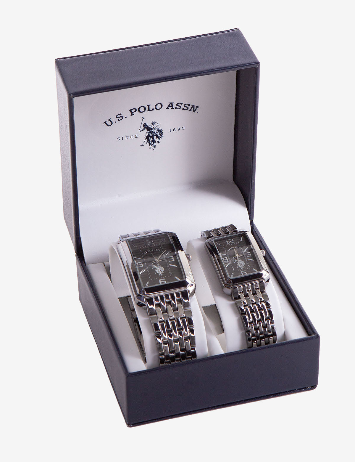 HIS AND HERS SQUARE FACE WATCH SET - U.S. Polo Assn.