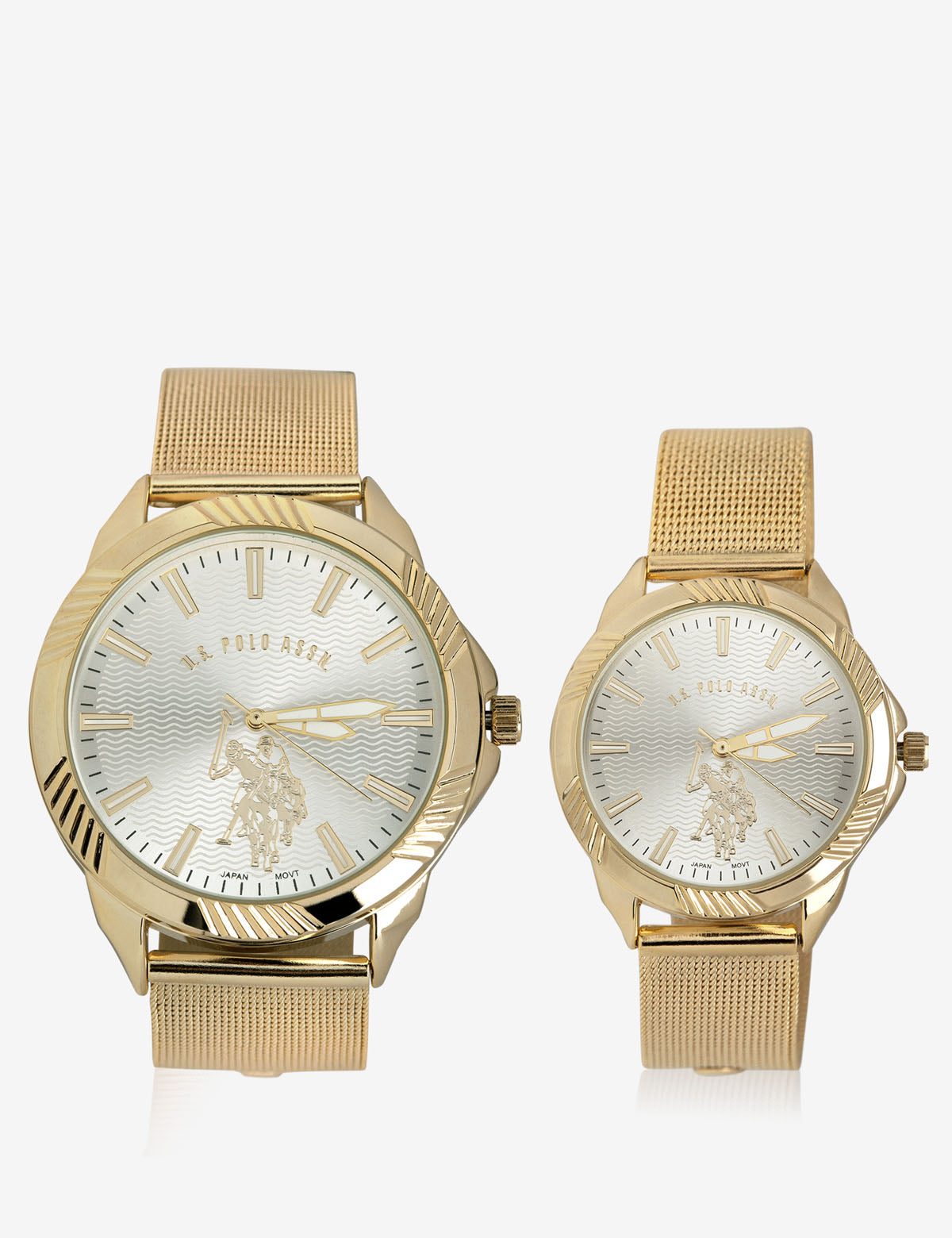 HIS & HERS GOLD MESH STRAP WATCH SET