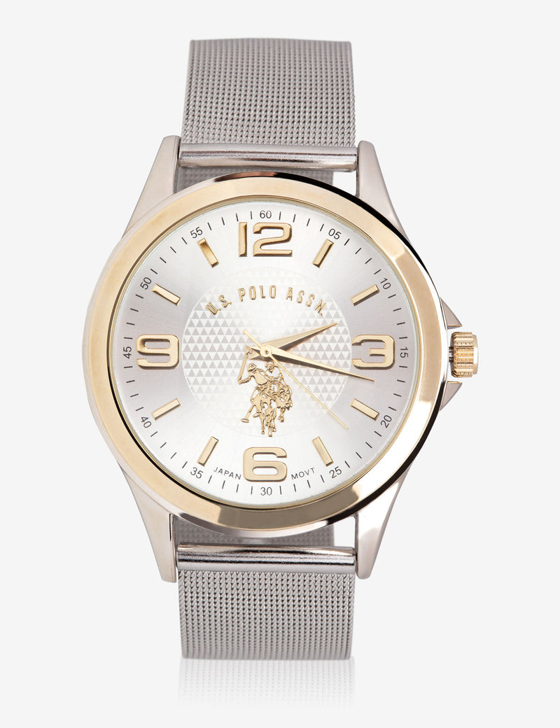 HIS & HERS SILVER MESH STRAP WATCH SET