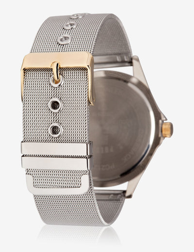 HIS & HERS SILVER MESH STRAP WATCH SET - U.S. Polo Assn.