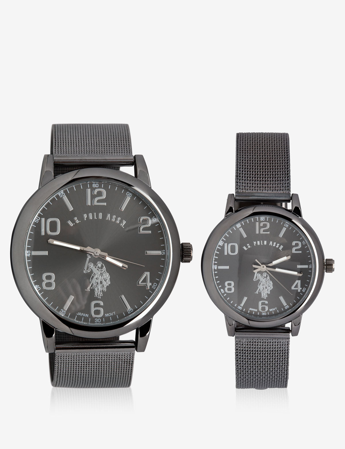 HIS & HERS BLACK MESH STRAP WATCH SET