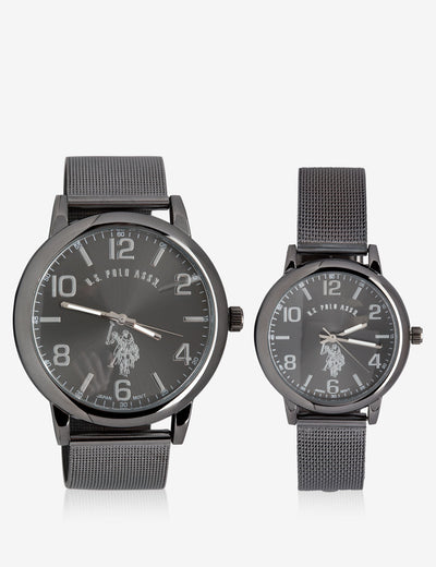 HIS & HERS BLACK MESH STRAP WATCH SET - U.S. Polo Assn.