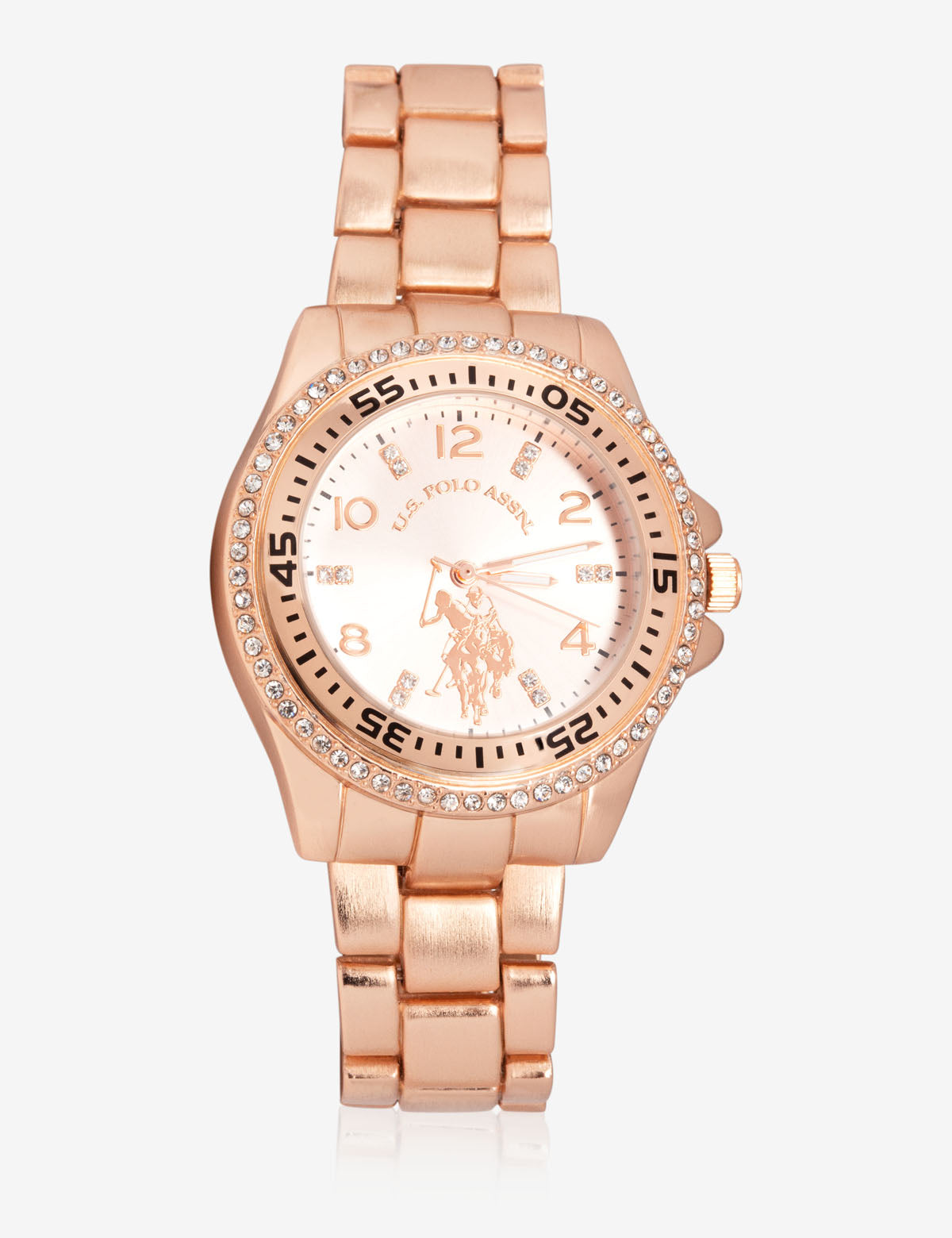 USPA WOMEN'S ROSE GOLD & RHINESTONE STUDDED WATCH