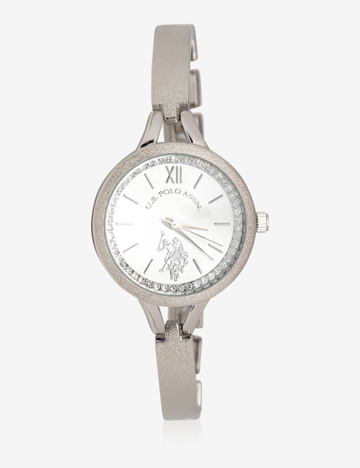 USPA WOMEN'S SILVER & RHINESTONE STUDDED WATCH