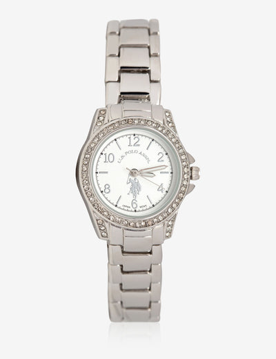 USPA WOMEN'S SILVER TONE & RHINESTONE WATCH - U.S. Polo Assn.