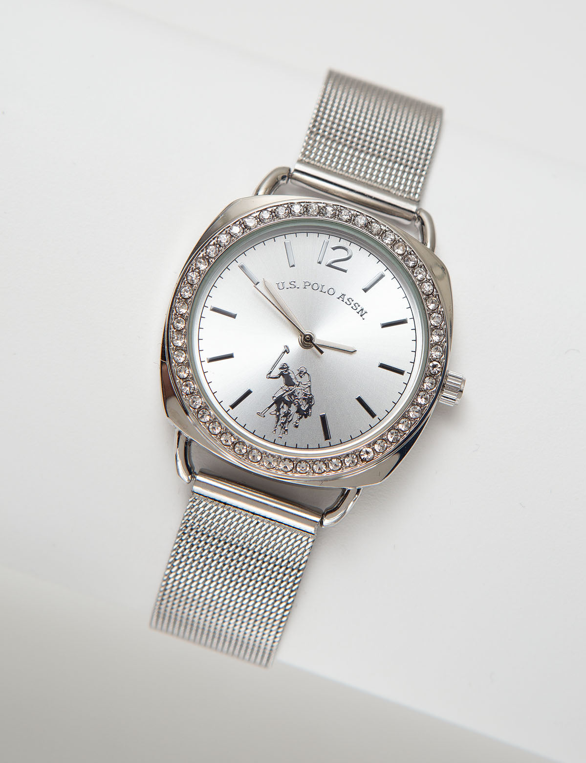Ladies Silvertone Mesh Watch with Crystal Accents - U.S. Polo Assn.