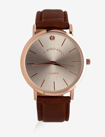 MEN'S BROWN FAUX LEATHER WATCH WITH ROSE GOLD TONE - U.S. Polo Assn.
