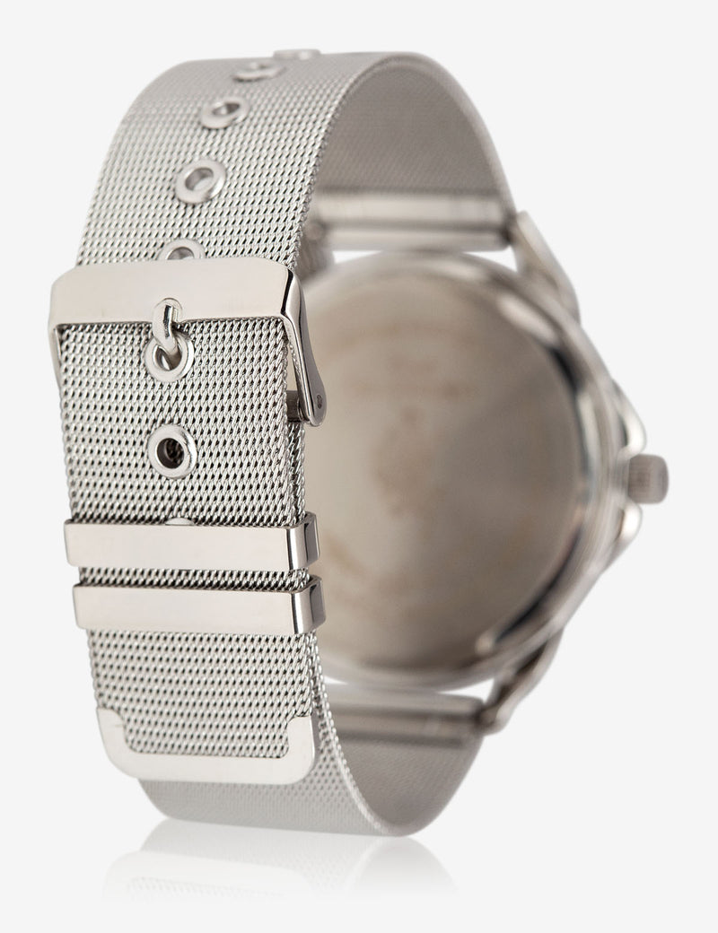 MEN'S SILVER WATCH WITH TEXTURED BAND