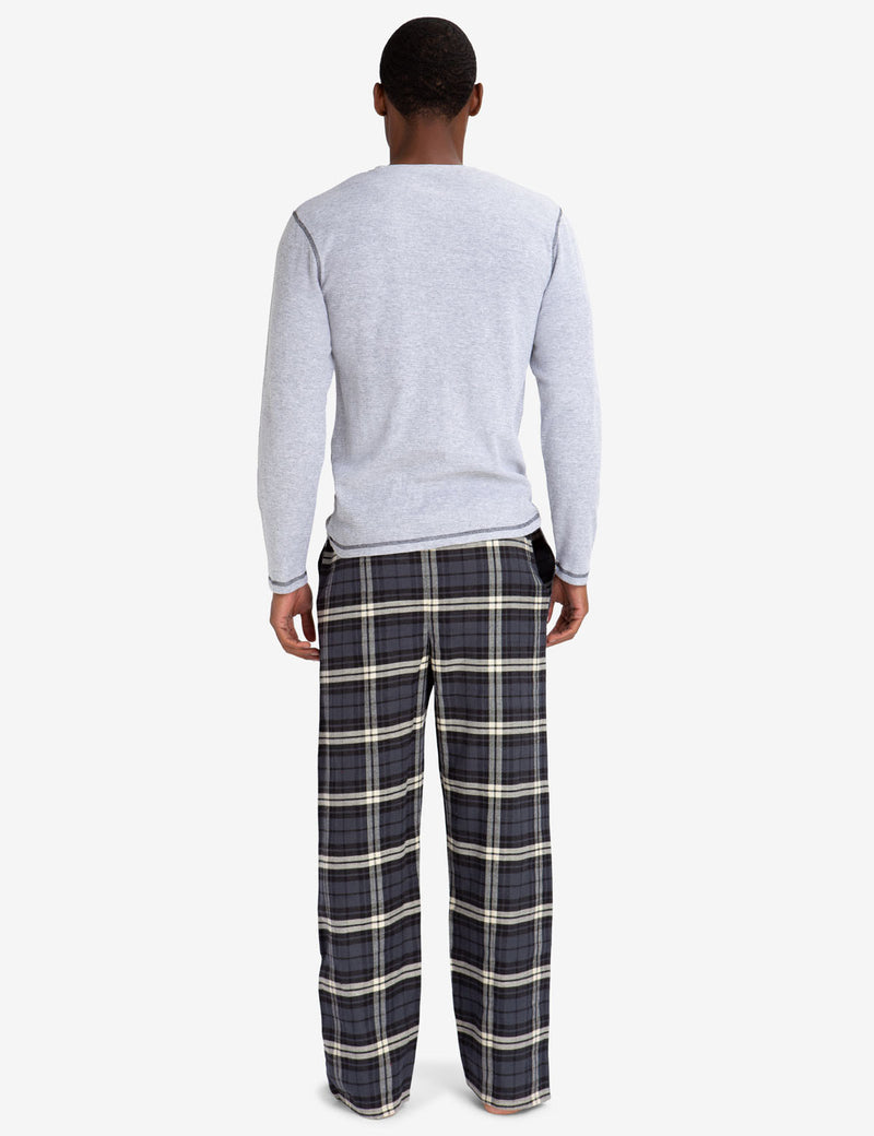 LOUNGE  SET: THERMAL TOP & PLAID PANTS