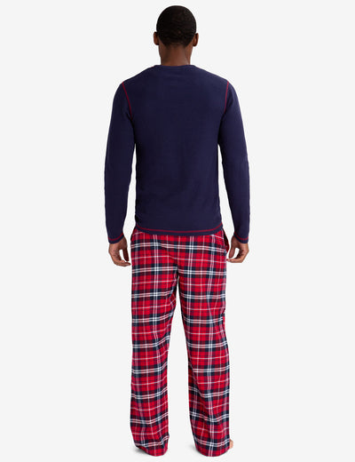 LOUNGE  SET: THERMAL TOP & PLAID PANTS - U.S. Polo Assn.