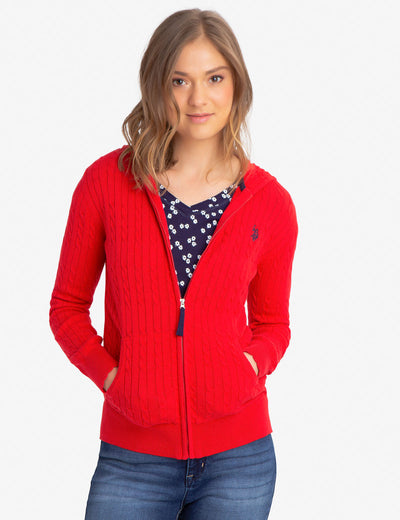 HOODED CABLE KNIT SWEATER - U.S. Polo Assn.