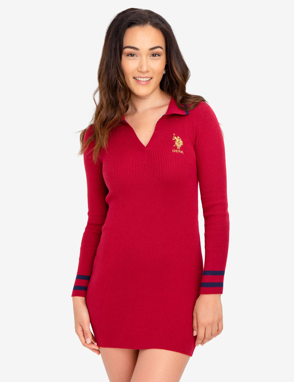 RED SWEATER DRESS WITH GOLD LOGO