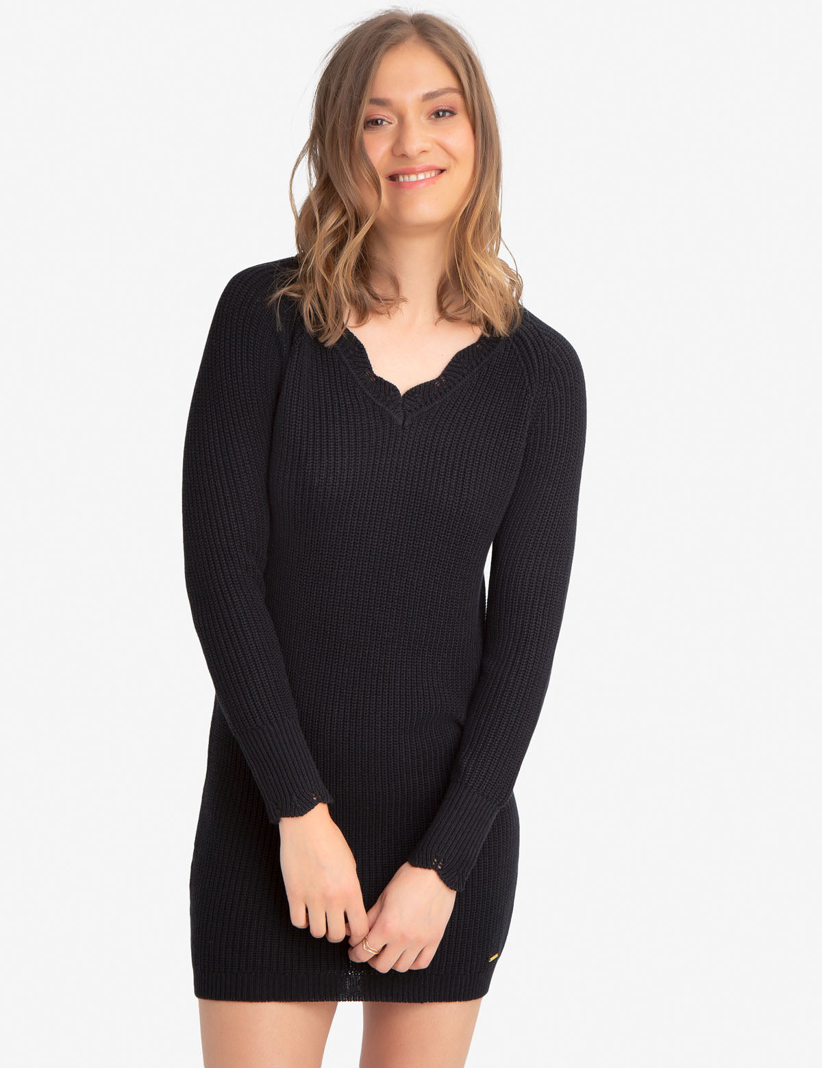CABLE V-NECK SWEATER DRESS