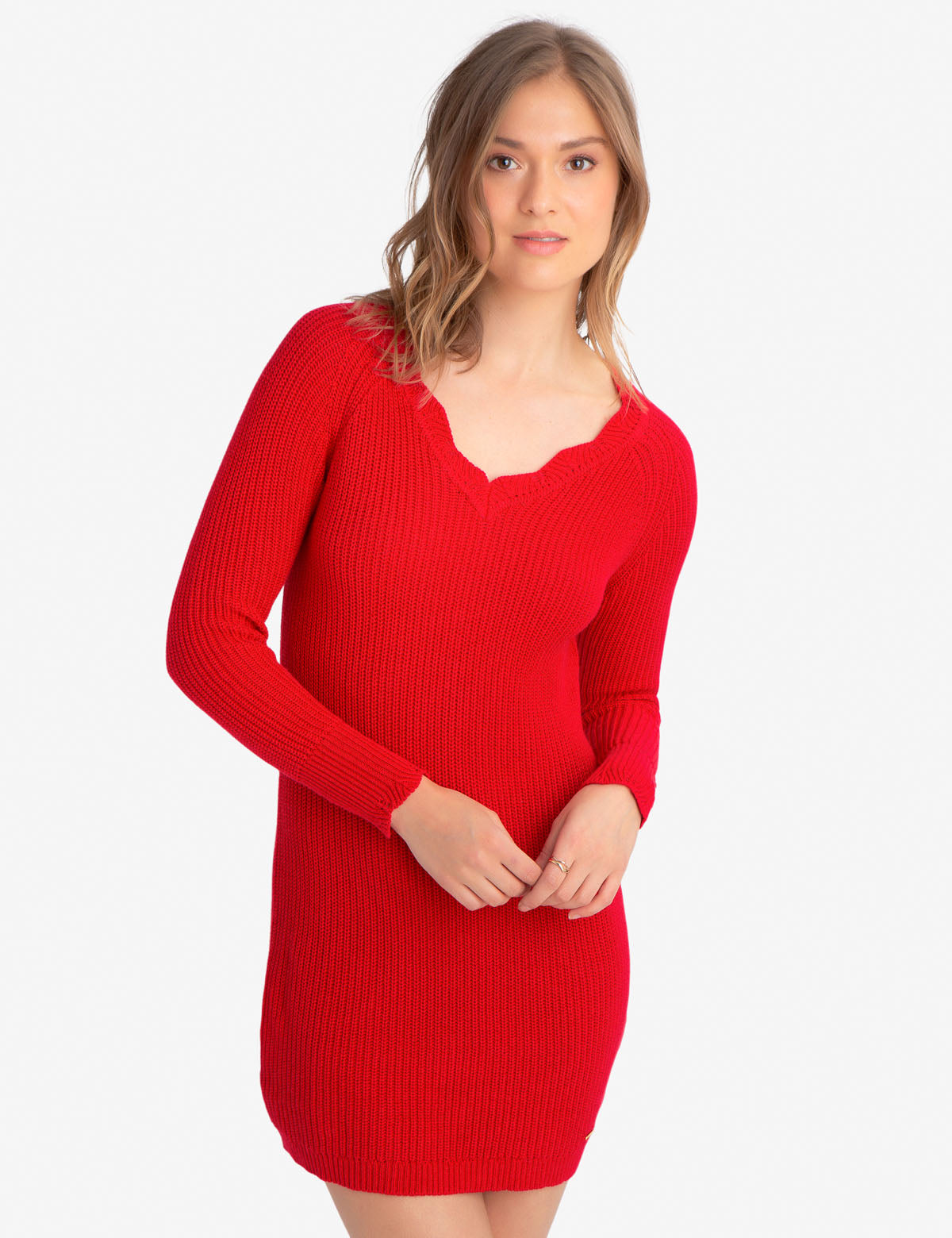 CABLE V-NECK SWEATER DRESS - U.S. Polo Assn.