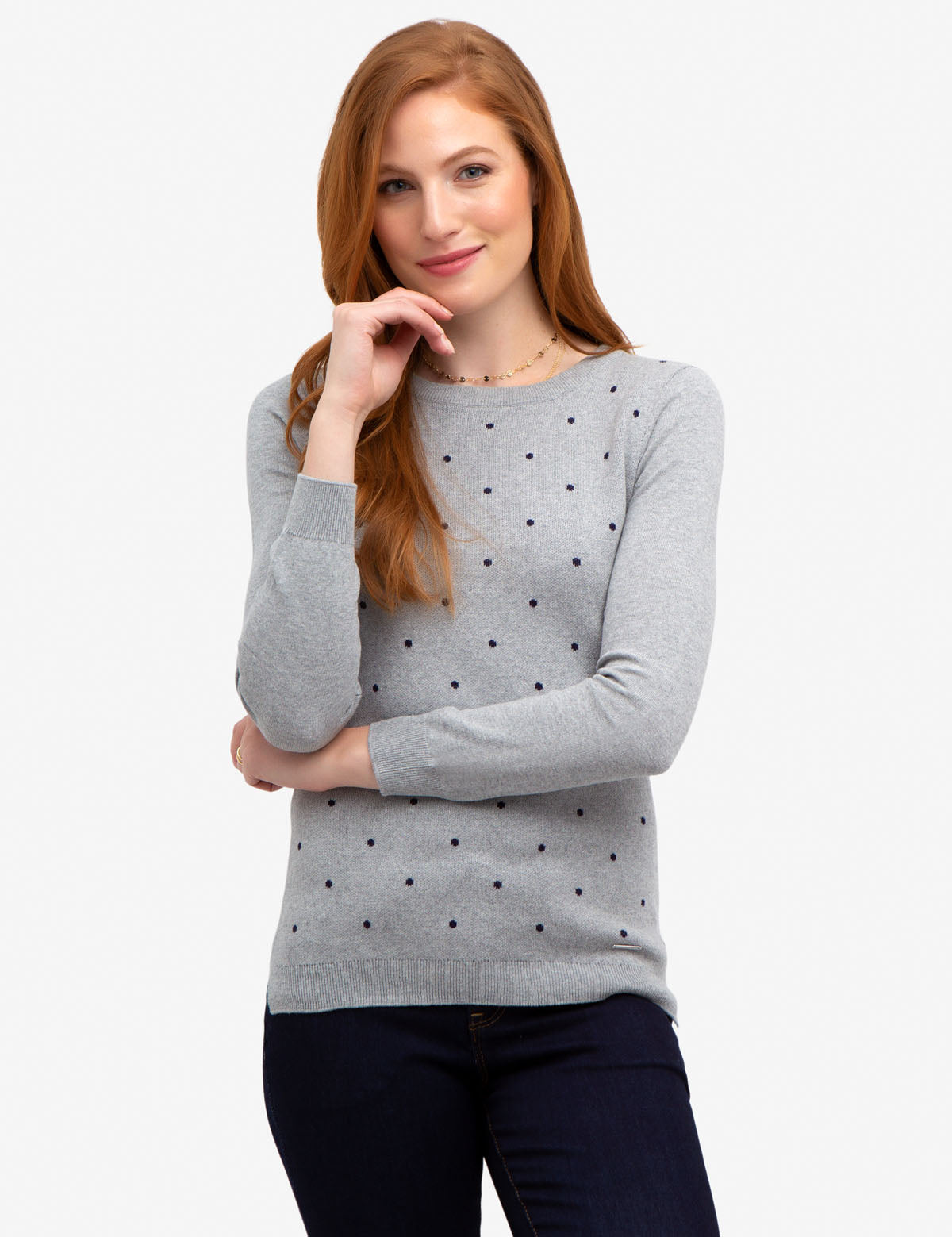 DOT CREW NECK SWEATER