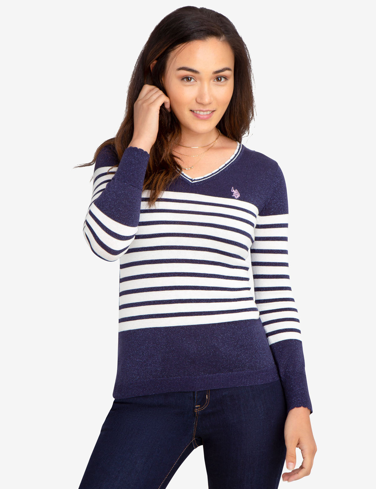 STRIPED LUREX V-NECK SWEATER