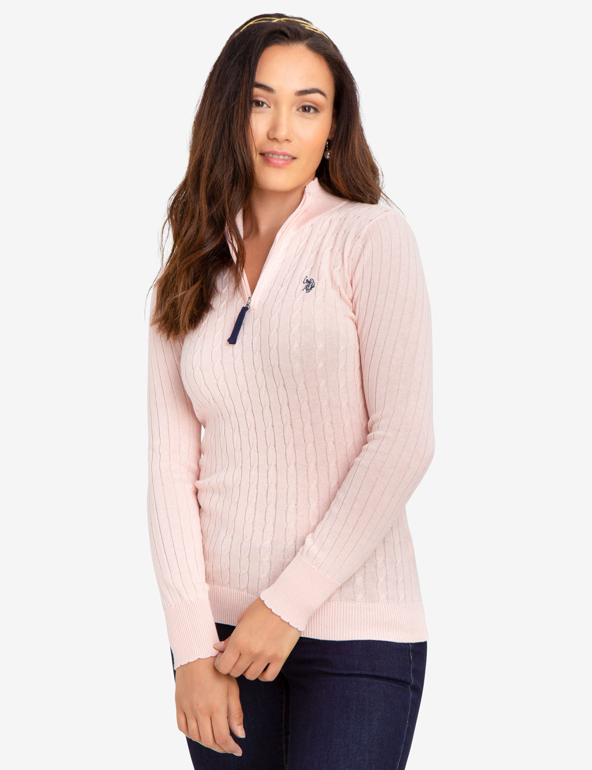 CABLE KNIT SWEATER WITH QUARTER ZIP