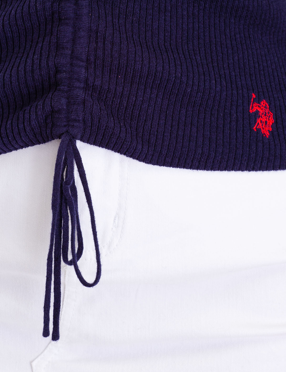 RUCHED RIB V-NECK SWEATER - U.S. Polo Assn.