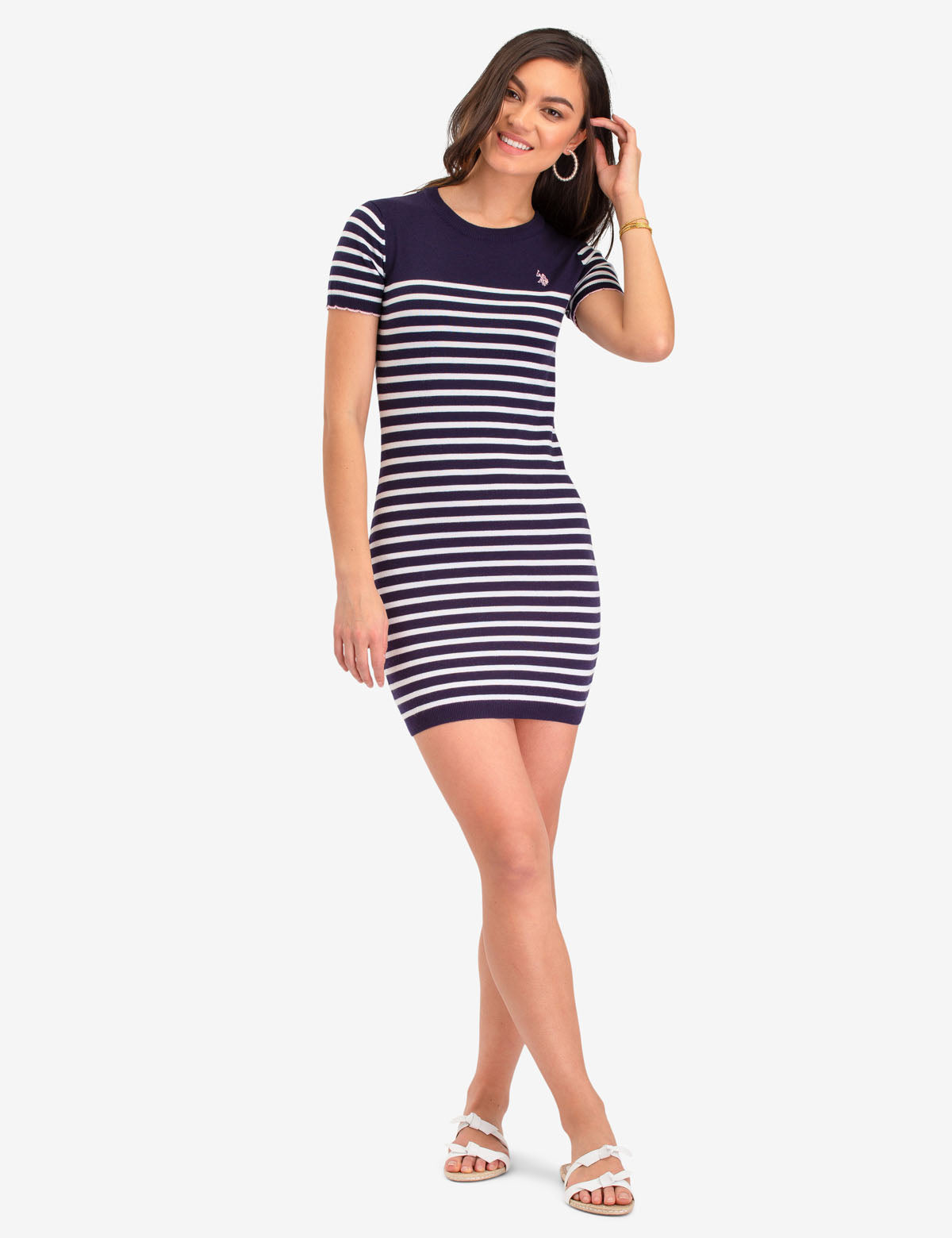 STRIPED SCALLOP SWEATER DRESS - U.S. Polo Assn.