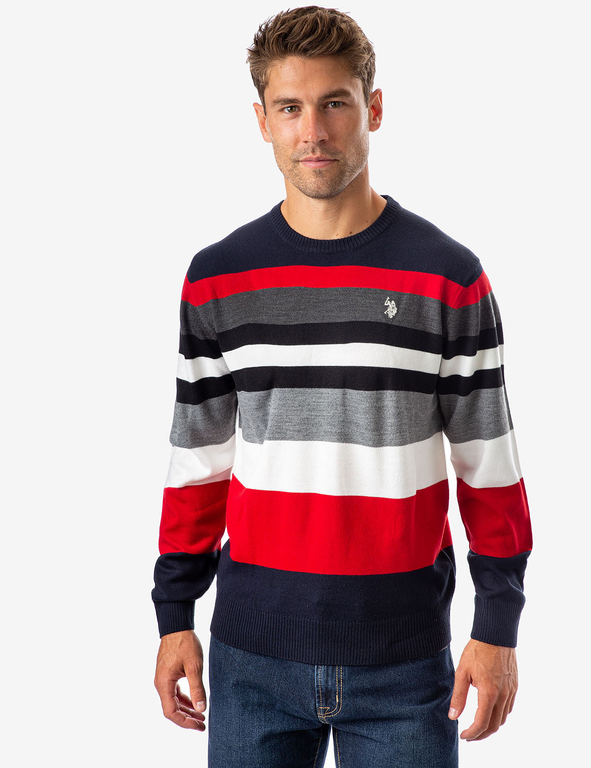 MULTICOLOR STRIPED CREW NECK SWEATER - U.S. Polo Assn.