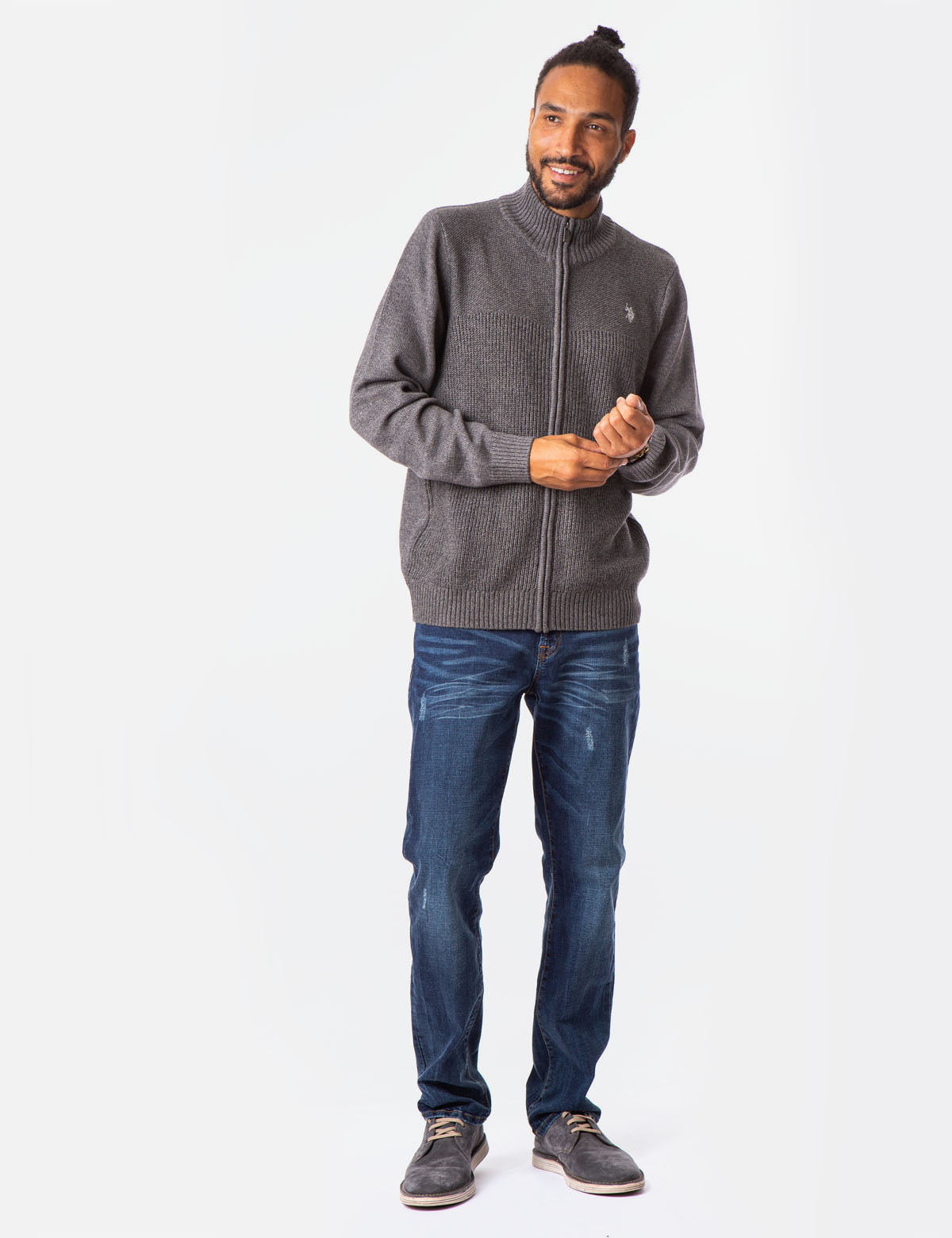 MARL TEXTURED FULL ZIP SWEATER - U.S. Polo Assn.