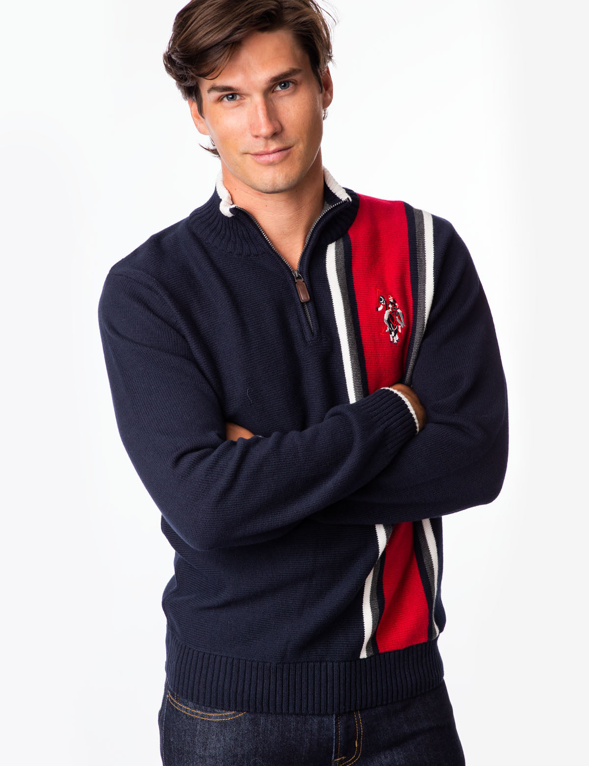 VERTICAL STRIPE 1/4 ZIP SWEATER - U.S. Polo Assn.