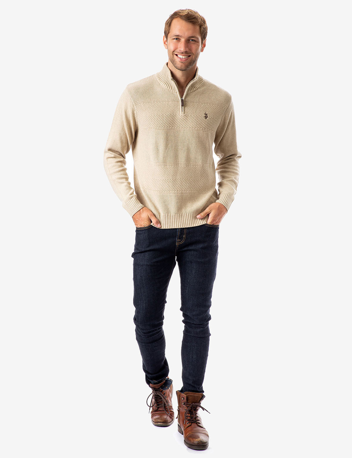 TEXTURED STRIPE 1/4 ZIP SWEATER - U.S. Polo Assn.