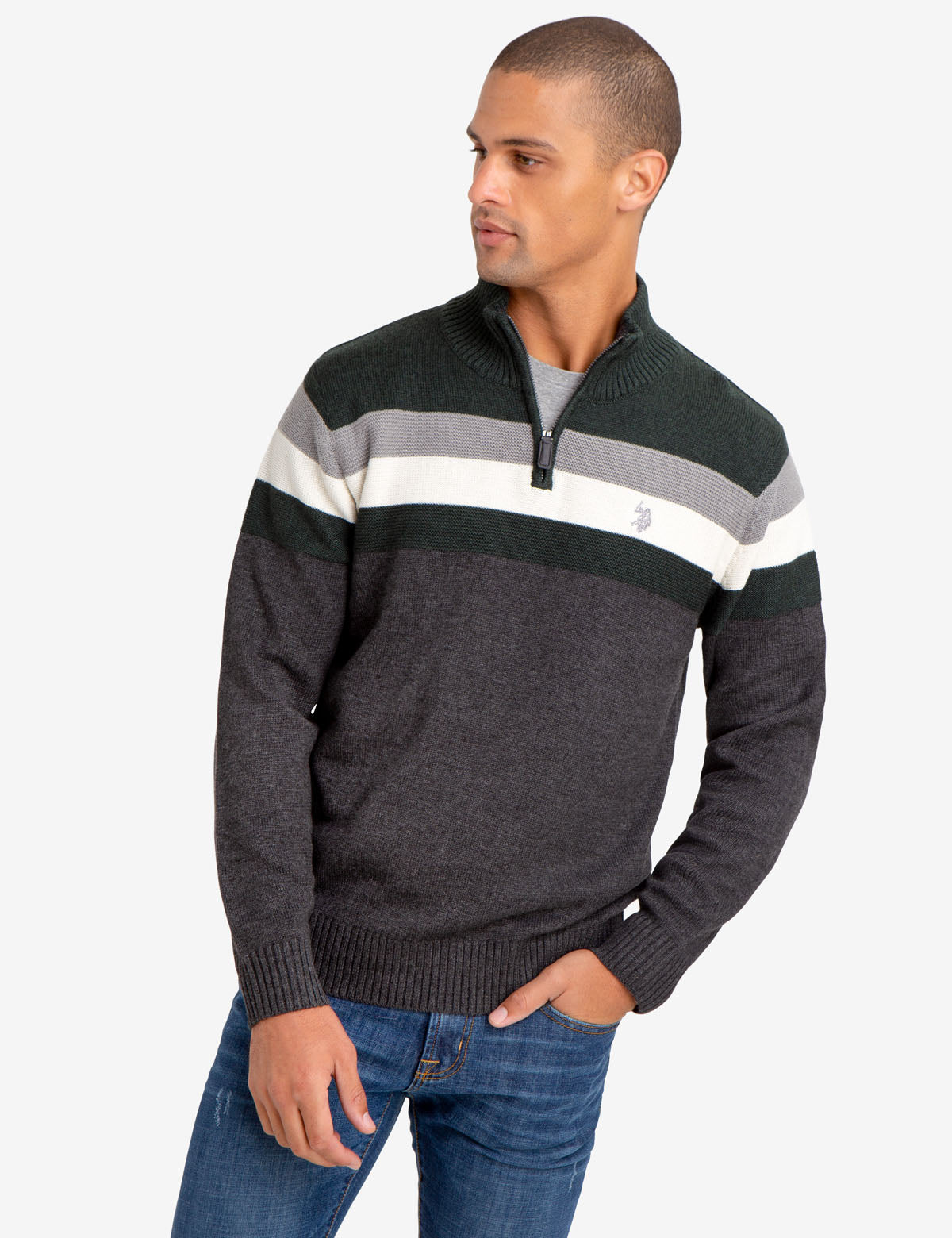 1/4 ZIP STRIPED SWEATER
