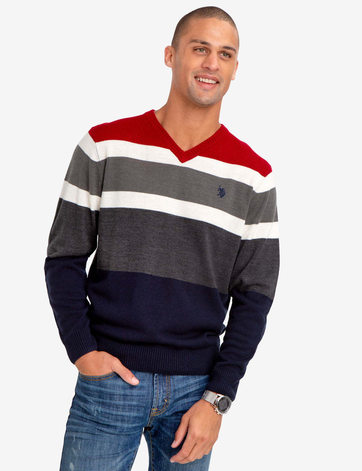 SOFT STRIPED V-NECK SWEATER