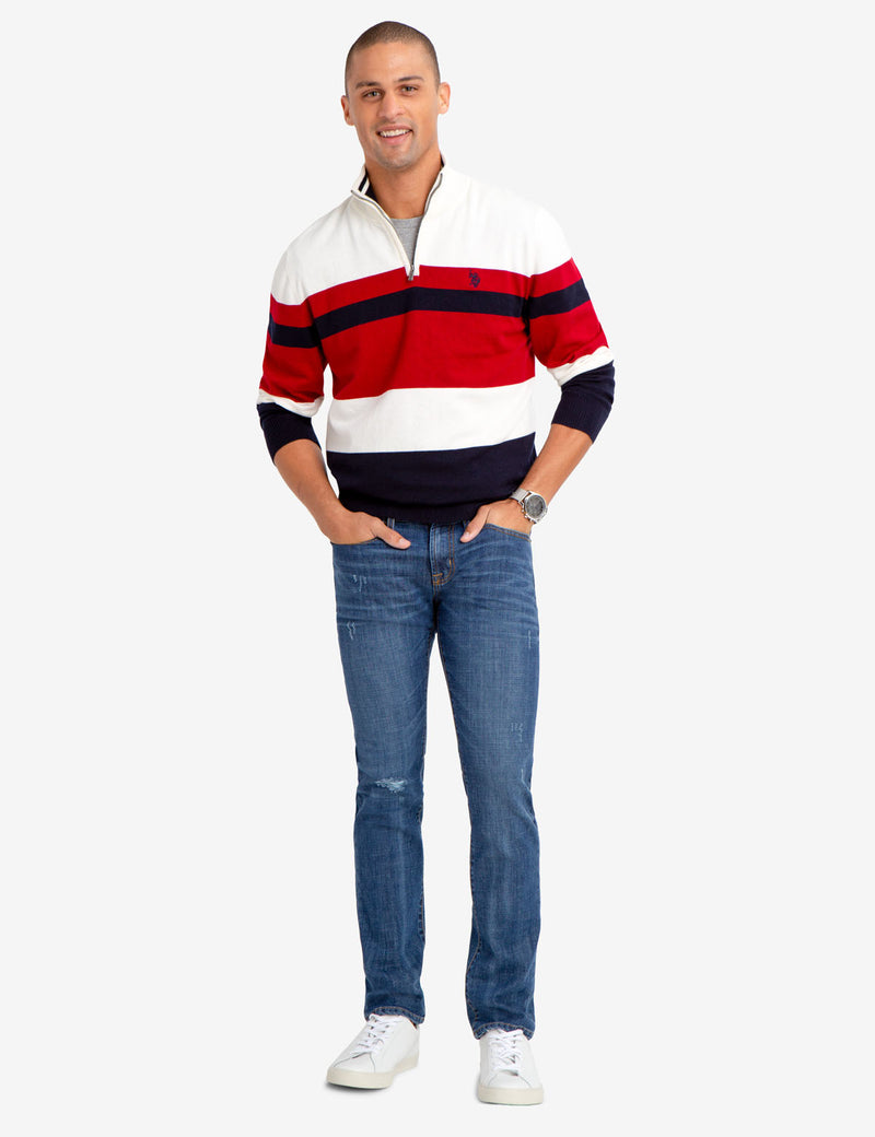 QUARTER ZIP STRIPED SWEATER