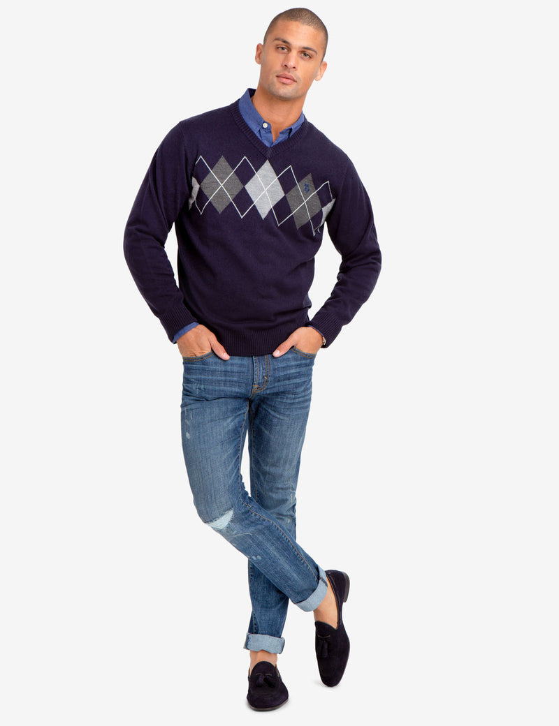 CREW NECK DIAMOND DESIGN SWEATER - U.S. Polo Assn.
