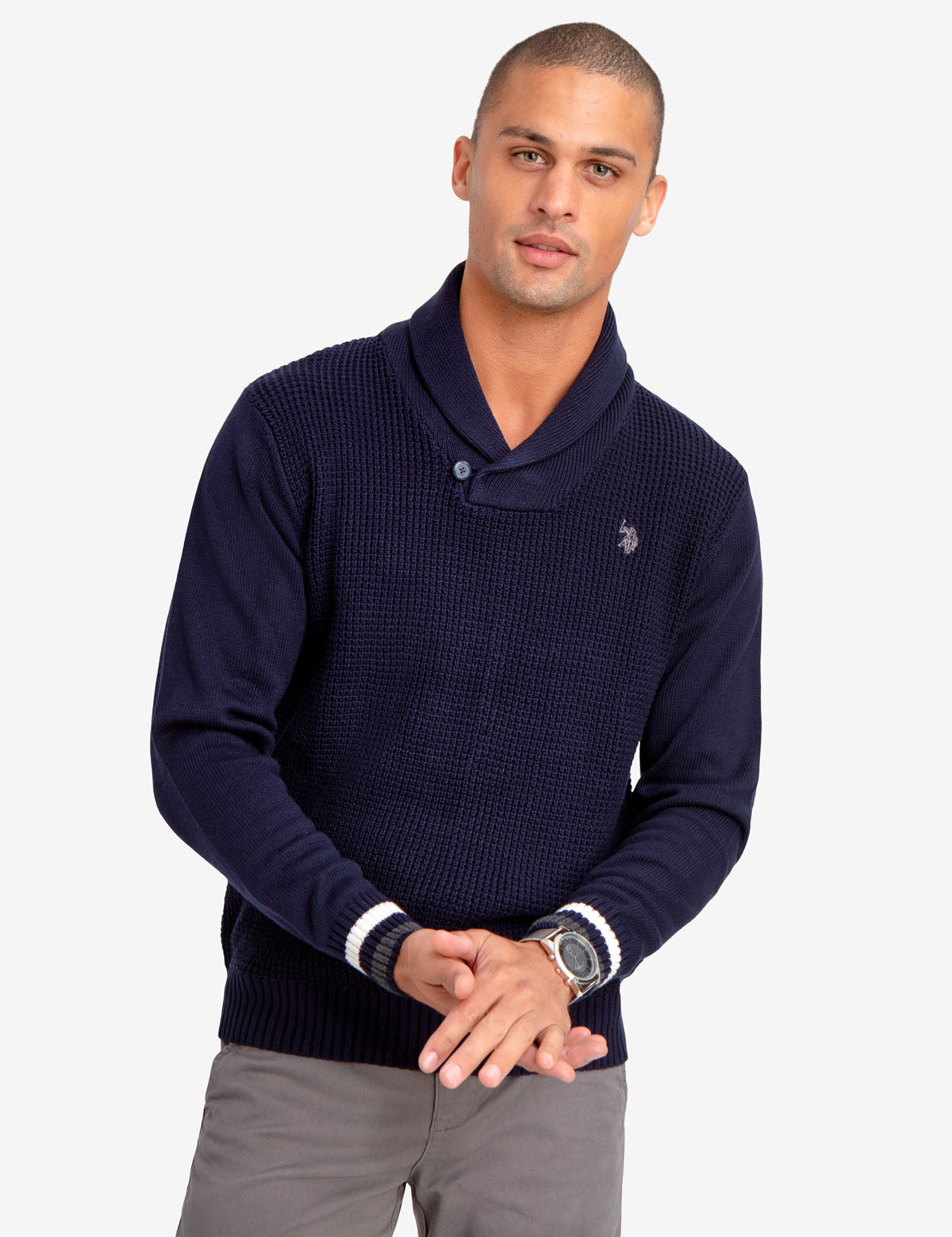 SOLID SHAWL COLLAR SWEATER