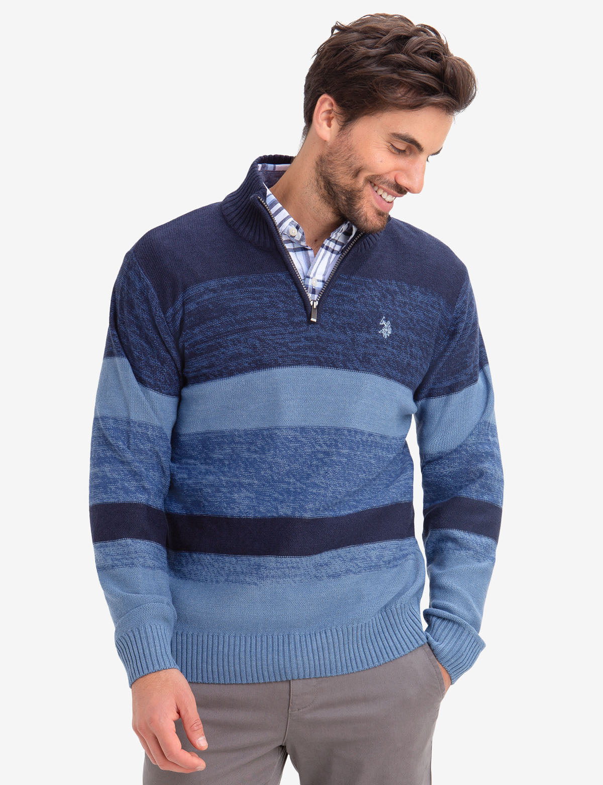 QUARTER ZIP MARLED SWEATER - U.S. Polo Assn.
