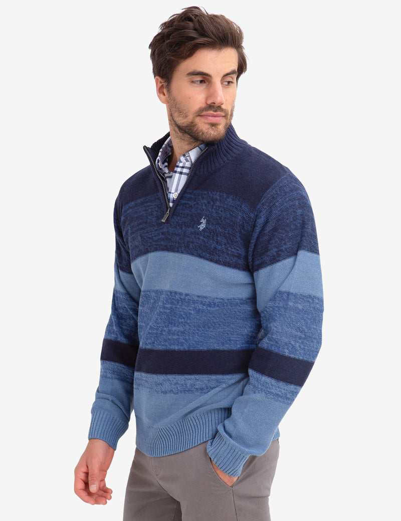 QUARTER ZIP MARLED SWEATER