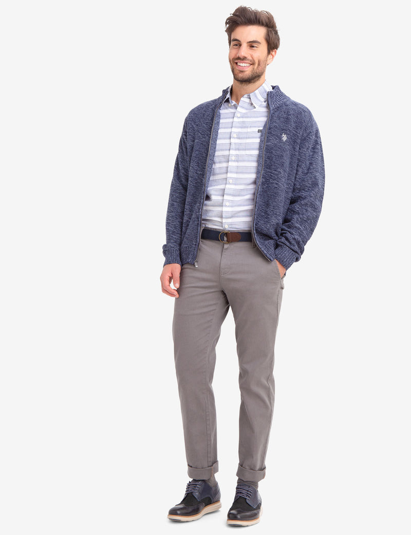 FULL ZIP MARL STRIPED SWEATER