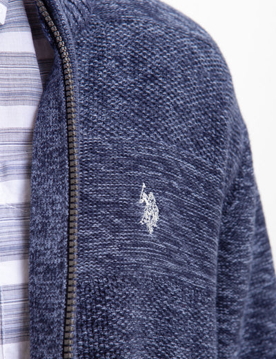 FULL ZIP MARL STRIPED SWEATER - U.S. Polo Assn.
