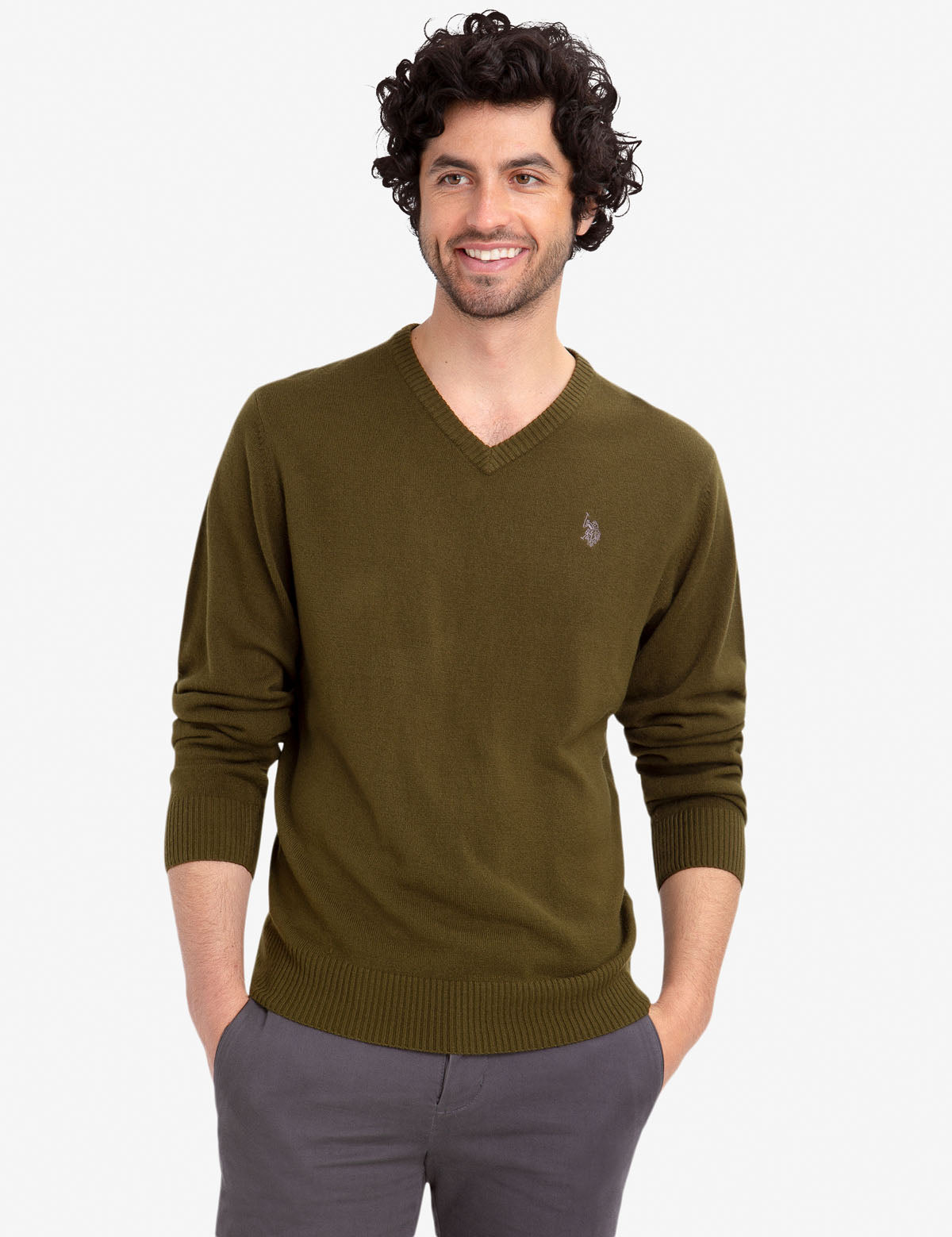 Mens Solid V-Neck Sweater U.S POLO ASSN