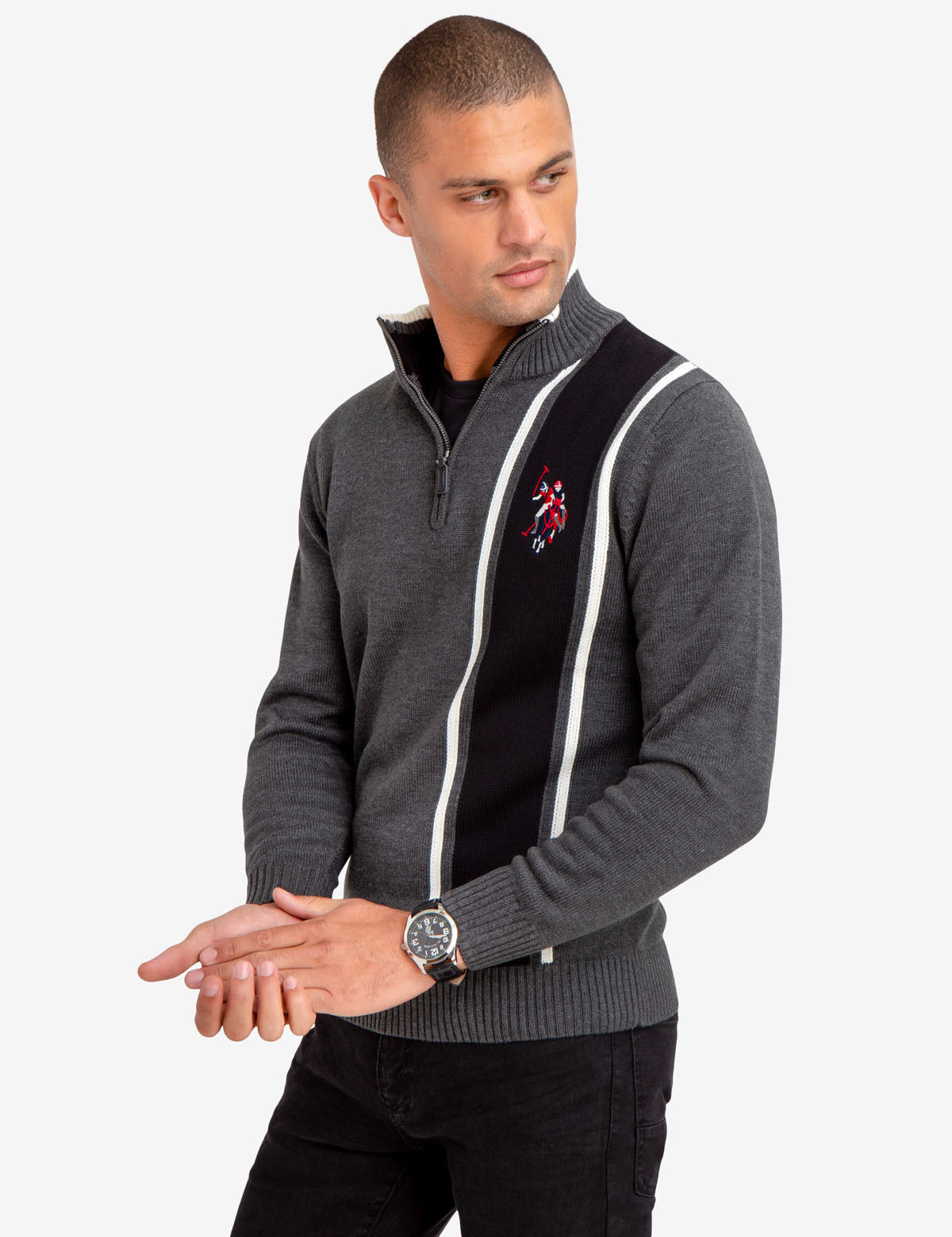 QUARTER ZIP MULTI-COLOR LOGO SWEATER
