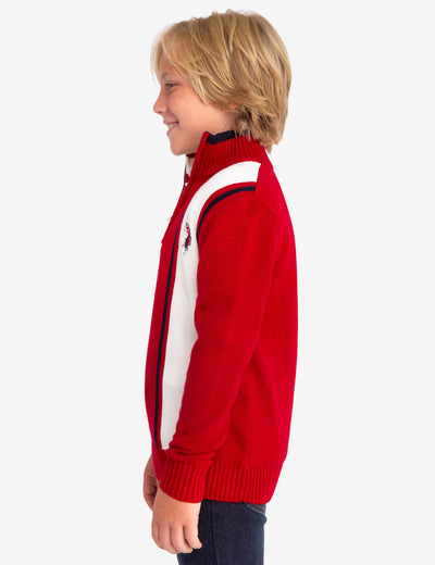 QUARTER ZIP VERTICAL STRIPED SWEATER - U.S. Polo Assn.