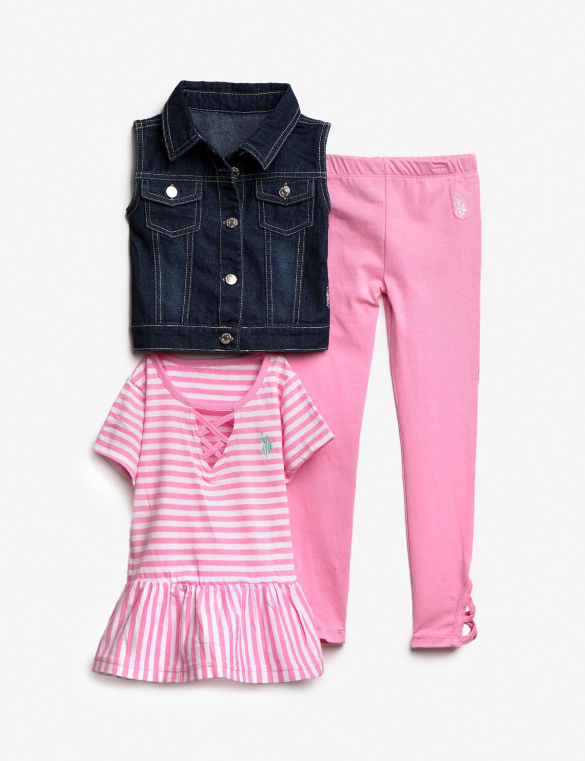 GIRLS 3 PIECE SET: VEST, TEE & LEGGINGS