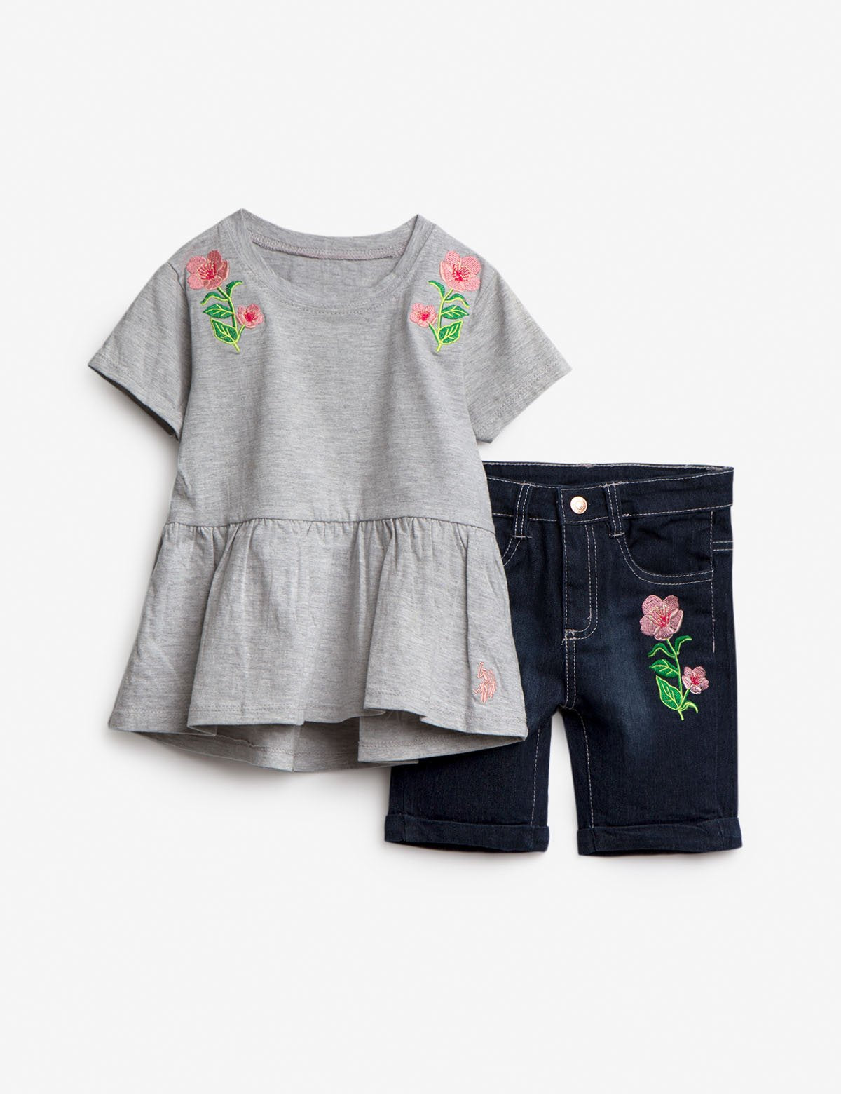 GIRLS 2 PIECE SET: FLORAL TOP & BERMUDA SHORTS